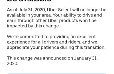 Reminder: Uber Select will no longer be available after July 31, 2020