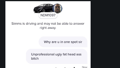 Lyft rider goes off on driver through app