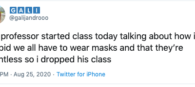 A student just dropped a class because her professor was a COVIDIOT