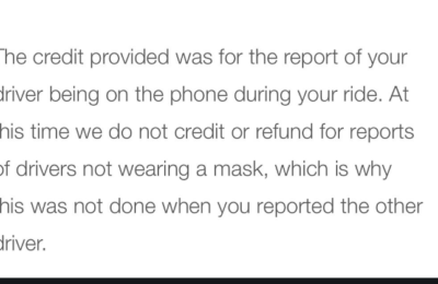 Uber is not enforcing their own face mask policy