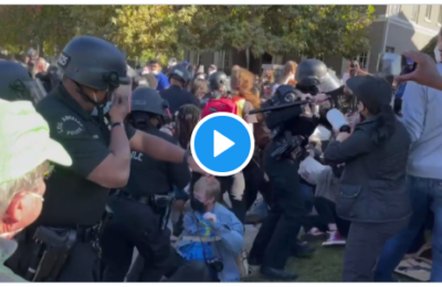 WATCH: LAPD used batons on mothers and babies during a peaceful protest outside the Mayor's residence